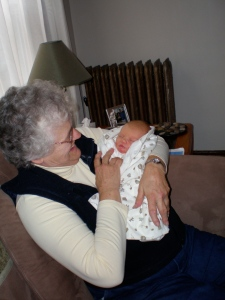 Gram meeting our Joy for the first time.