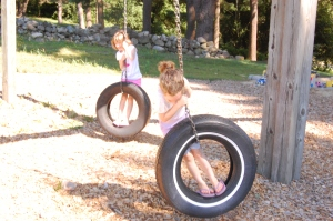 We like the tire swings